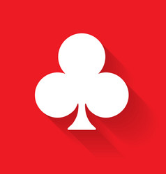 Club poker suit symbol white sign on red vector
