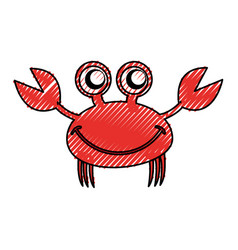 Comic character crab icon vector