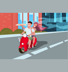 couple riding motorcycle scooter woman man lovers vector image