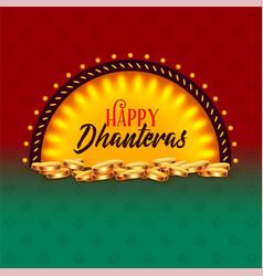 Creative happy dhanteras festival card greeting vector