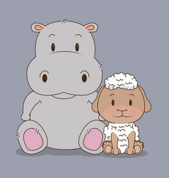 Cute and little sheep and hippo characters vector