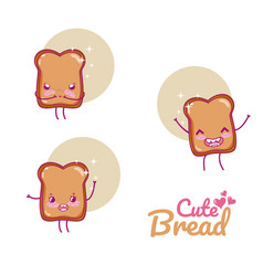 cute bread kawaii cartoon vector image