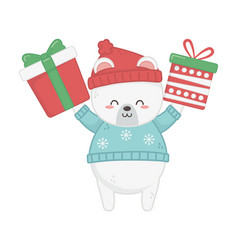 cute polar bear animal with gift boxes merry vector image