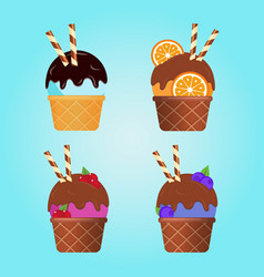 different ice cream with wafer rolls in waffle cup vector image