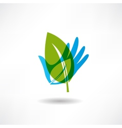 Eco hand and a piece of abstraction icon vector image