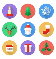 flat design christmas icons set vector image
