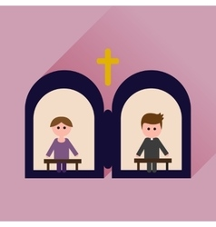 Flat icon with long shadow priests confession vector