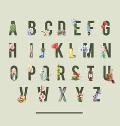 Flower garden alphabet design with climbing rose vector