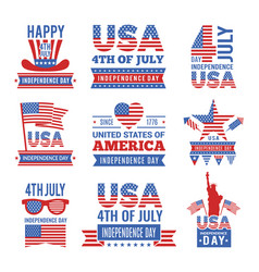 fourth july independence day logo set vector image
