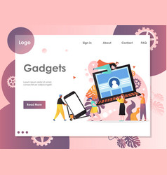 gadgets website landing page design vector image