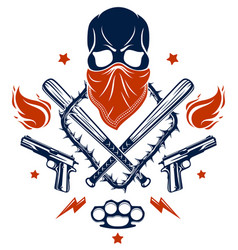 Gangster emblem logo or tattoo with aggressive vector