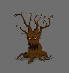 halloween tree in cartoon style vector image