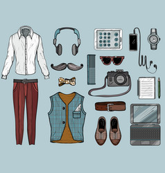 hand drawn sketch with hipster man accessories vector image