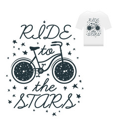 hand drawn vintage print label with bicycle and vector image