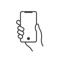 hand holding modern mobile phone line icon vector image