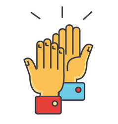 Hands clapping concept line icon editable vector