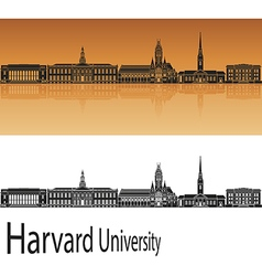 Harvard University skyline in orange vector