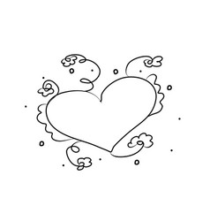 heart with flowers hand drawing coloring book vector image