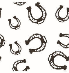 Horseshoe seamless pattern black on white vector