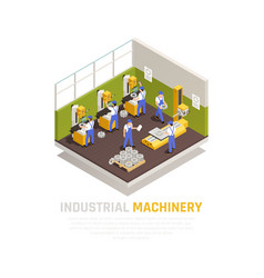 industrial machinery isometric concept vector image