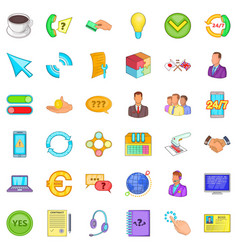 internet business icons set cartoon style vector image