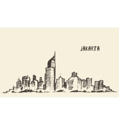 Jakarta skyline vintage drawn sketch vector image