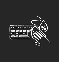 Keyboard cleaning chalk white icon on black vector