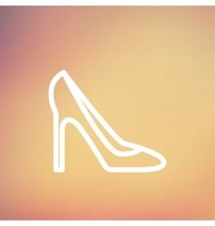 Lady high heel shoe thin line icon vector image