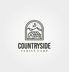 line art cottage house symbol with mountain view vector image