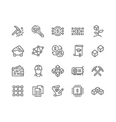 Line blockchain icons vector