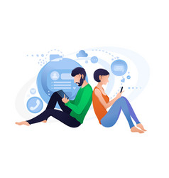 Live chat with smartphone online communication vector