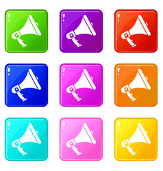 megaphone icons 9 set vector image