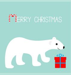 Merry christmas greeting card arctic polar bear vector