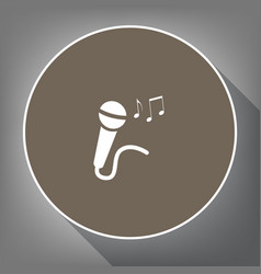 microphone sign with music notes white vector image