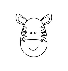 Monochrome contour with male zebra head vector