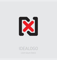 n and x initial logo nx - design element or icon vector image