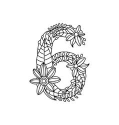 Number 6 coloring book for adults vector image