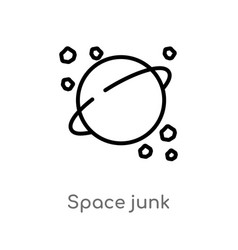 Outline space junk icon isolated black simple vector
