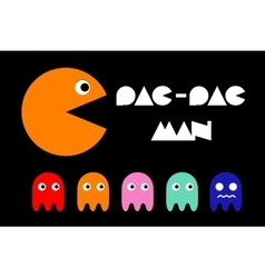 Pac man icon and ghosts retro computer arcade vector