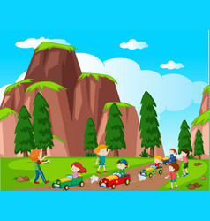 Park scene with kids racing car vector