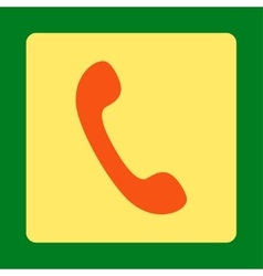 Phone flat orange and yellow colors rounded button vector