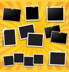 photo frame big set with yellow background vector image