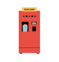 popcorn vending machine - flat red isolated snack vector image