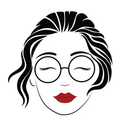 Portrait a girl with glasses head a vector