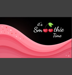 red cherry smoothie logo vitamin drink banner vector image