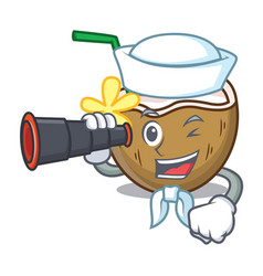 sailor with binocular cocktail coconut mascot vector image