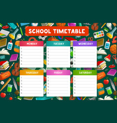 School timetable student book notebook pencil vector