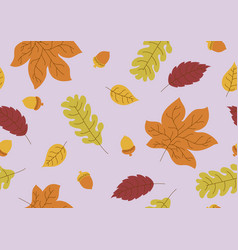 seamless pattern autumn leaves and acorn fall vector image