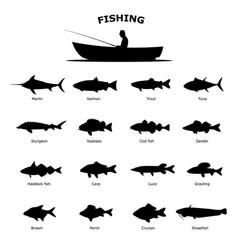 Set black silhouette sea river fish vector