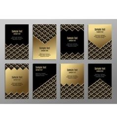 Set cards gold on black business plates vector